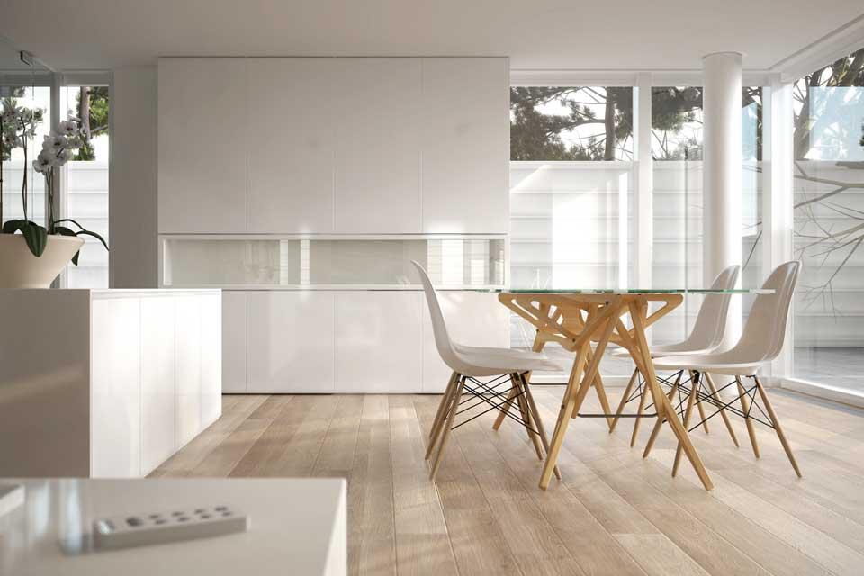 koelnparkett Landhausdiele Eiche Prima weiß geölt in der Küche – Der Parkett Riese Köln