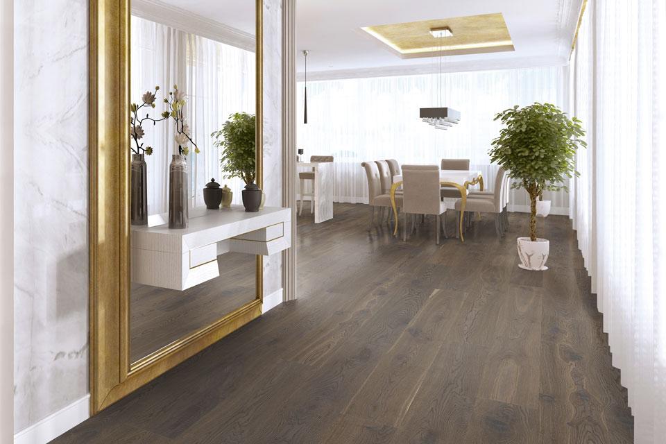 Woodline Parquetry Landhausdiele Eiche Antique Rustic Grey im Salon – Der Parkett Riese Köln