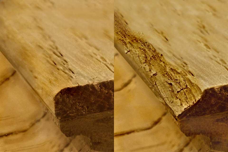 Oberflächenveredelung: runde Kanten und beschädigte Kanten