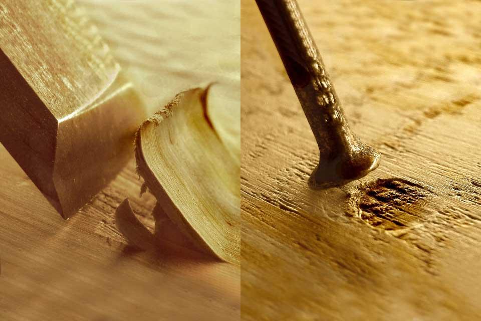Oberflächenveredelung: Werkzeugspuren und Nagelspuren